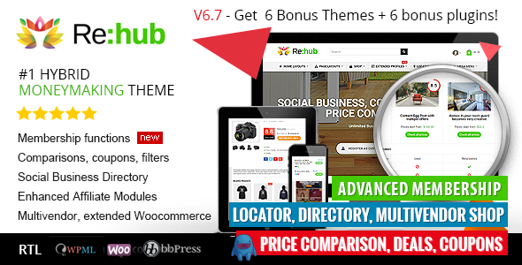 REHub - Price Comparison, Business Community, Multi Vendor, Directory Theme