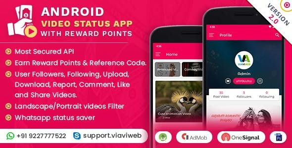 Android Video Status App With Reward Points