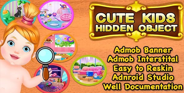 Cute Kids Hidden Object + Best Hidden Object Game For Kids + Admob + Android Studio