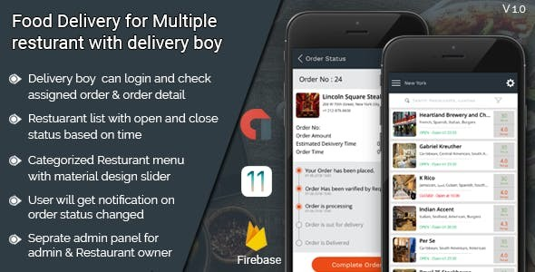 Food Delivery for multiple restaurant with delivery boy IOS application