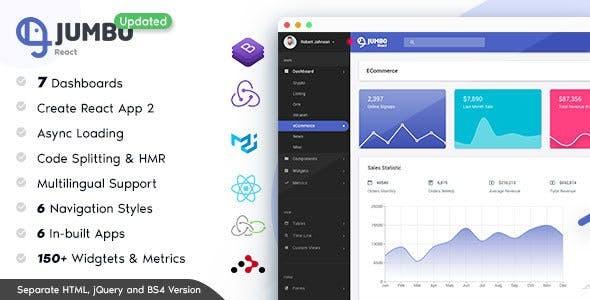Jumbo React - React Redux Material BootStrap Admin Template