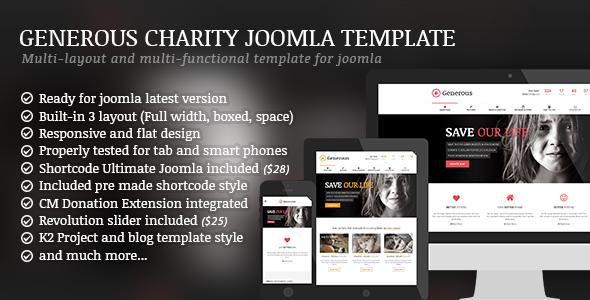 Generous Charity Non Profit Orphan Fund raising Crowd funding Joomla Template