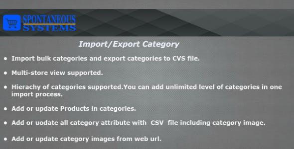 Import Export Categories Magento2