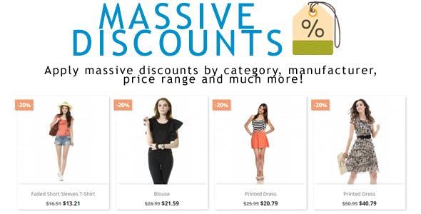 prestashop massive discounts