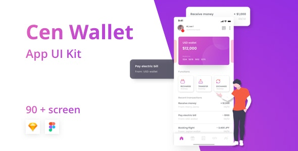 Cen Bank and Wallet Mobile UI Kit for Finance