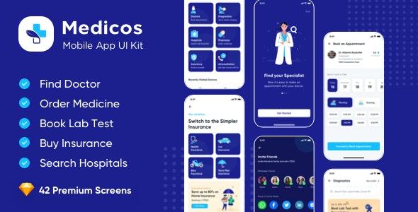 Medicos Healthcare Mobile Sketch App UI Kit