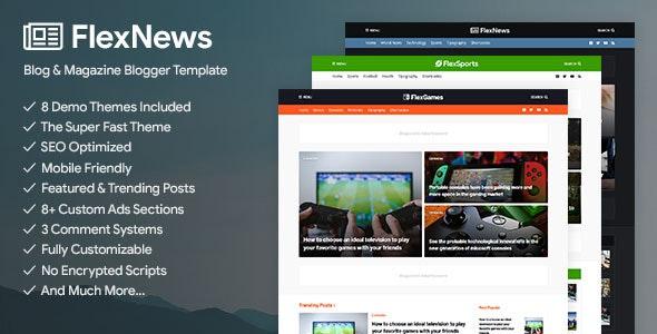 FlexNews Responsive Blog Magazine Blogger Template