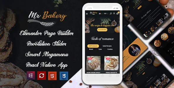 MrBakery Organic Food Bread Elementor eCommerce Store