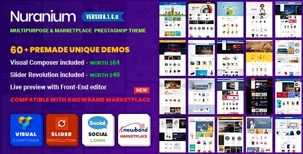 Nuranium Multi Purpose Marketplace Prestashop 1.7 Theme Compatible Knowband Marketplace