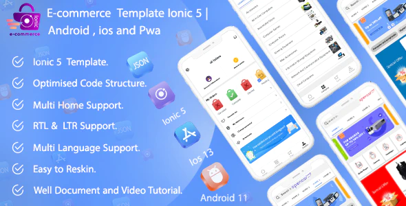 Ecommerce Ionic 5 App Template Android ios and pwa
