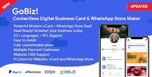 GoBiz Digital Business Card WhatsApp Store Maker SaaS vCard Builder