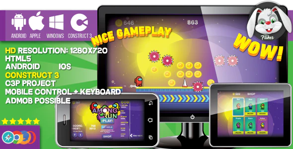 Among Run HTML5 game Construct 3 .c3p mobile sharings shop AdMob possible