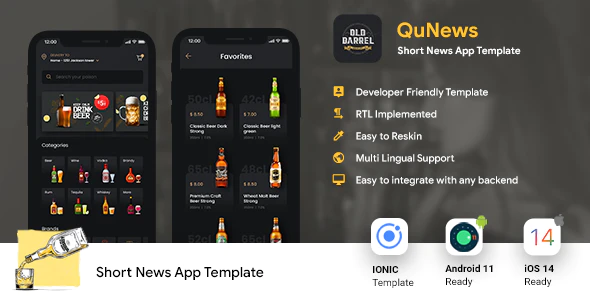 Online Liquor Buying Android App iOS App Template IONIC 5 OLD BARREL