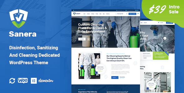 Sanera Sanitizing And Cleaning Services WordPress Theme
