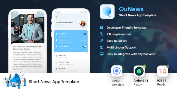Short News Android App Template iOS App Template IONIC 5 QuNews