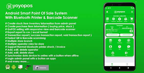 YoyoPOS Point Of Sales for Android APP with Barcode Scanner and API