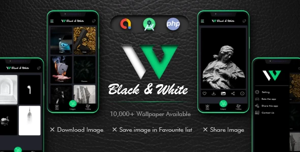 Black and White Wallpaper with Admin Panel Google Admob