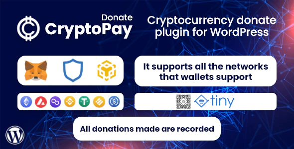 CryptoPay Donate Cryptocurrency donate plugin for WordPress