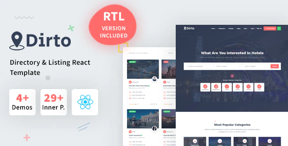Dirto Classified Directory Listing React Template with Dashboard