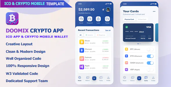 Doomix ICO App Crypto Wallet Mobile Template