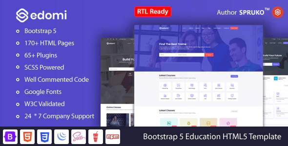 Edomi Bootstrap 5 Education Learning Courses HTML Template