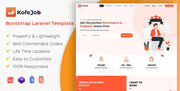 Kofejob Freelancer Service Marketplace Bootstrap Template HTML Laravel