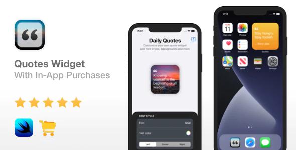 Quotes Widget iOS 14 In App Purchases Widget app Xcode 12