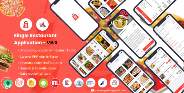 Single Restaurant Android User Delivery Boy Apps With Laravel Admin Panel