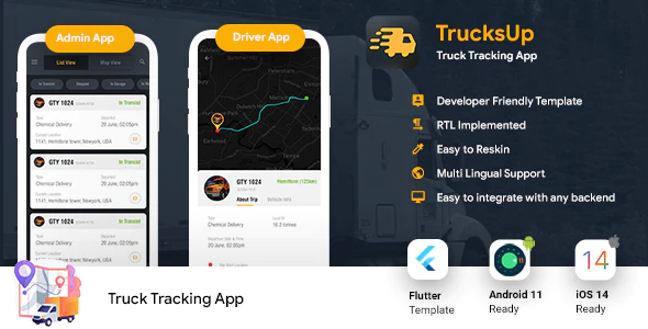 Truck Tracking Android iOS App Template 2 Apps Truck App Driver app Flutter 2 TrucksUp