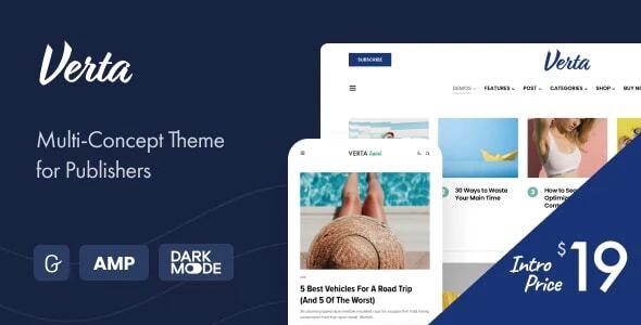 Verta Multi Concept WordPress Theme for Modern Publishers