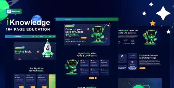 iknowledge education online learning platform elementor template kit